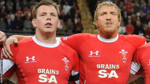 Matthew Rees and Andy Powell line up for Wales