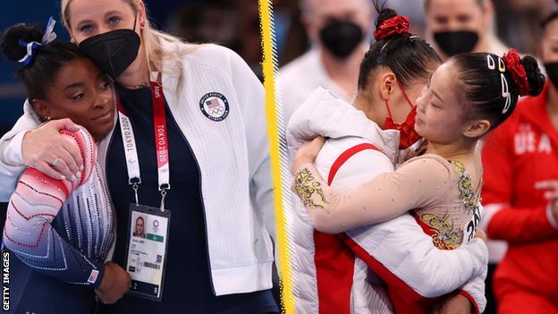 Simone Biles took bronze, while Guan Chenchen celebrated gold
