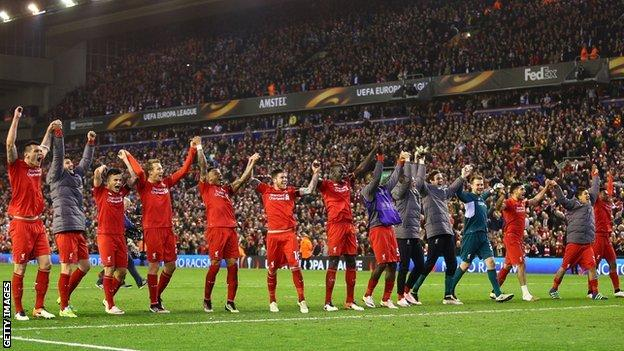 Liverpool celebrate their victory over Borussia Dortmund