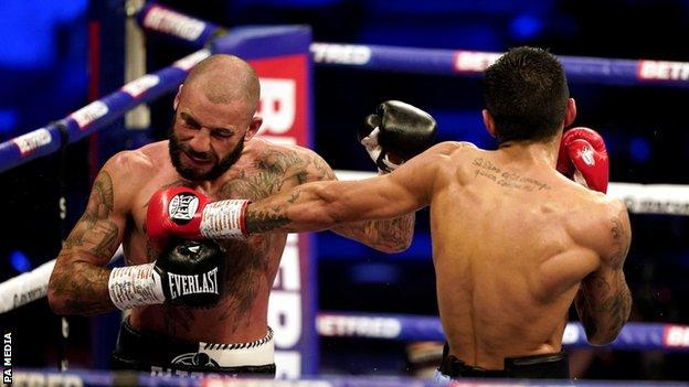 Liam Ritson (left) in action against Jeremias Ponce during the IBF Super-Lightweight World Title Final Eliminator