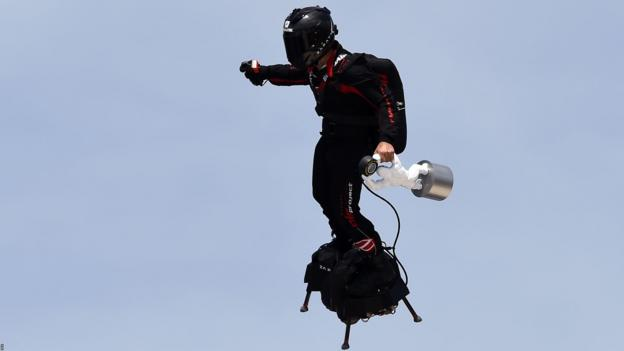 Man on jet pack flies over Paul Ricard ahead of race to delivery trophy
