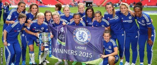 Chelsea Ladies with the 2015 FA Women's Cup