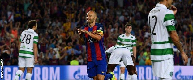 Andres Iniesta came on a substitute and volleyed Barcelona's fourth goal