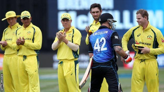 Brendon McCullum is given a guard of honour by Australia on his way to the wicket for his final ODI innings
