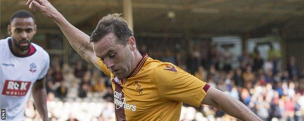 James McFadden in action for Motherwell against Bolton Wanderers
