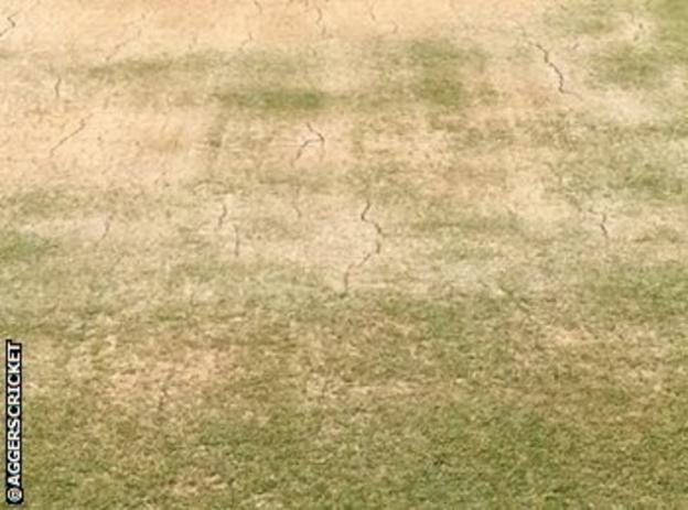 There was a healthy covering of grass on the Rajkot wicket on Monday