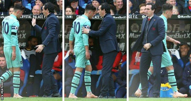 Mesut Ozil refused to high-five Arsenal boss Unai Emery after being substituted during Sunday's draw with Crystal Palace