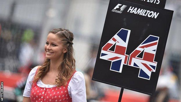 A grid girl at the Austrian Grand Prix