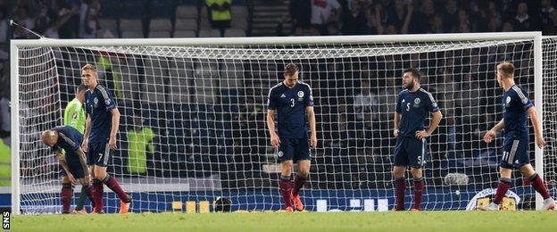 The Scotland players were stunned by Poland's late equaliser at Hampden in Euro 2016 qualifying