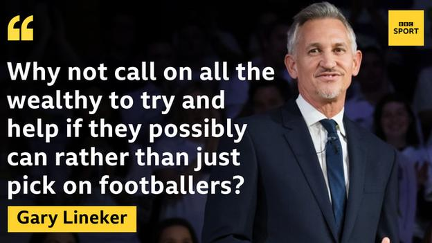 "Quote graphic: ""Why not call on all the wealthy to try and help if they possibly can rather than just pick on footballers?,"" Lineker said."