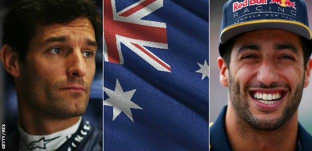 Mark Webber, Australia flag, Daniel Ricciardo