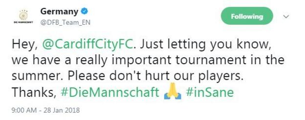 The German national team tweeted about the welfare of some of their players in Manchester City's line-up