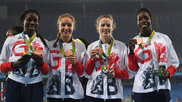 Christine Ohurougu, Emily Diamond, Eilidh Doyle and Anyika Onuora pose with their Olympic bronze medals in Rio