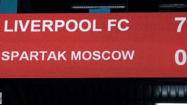 This was the second time Liverpool scored seven in this season's Champions League group stage having beaten Maribor in Slovenia by the same score in October