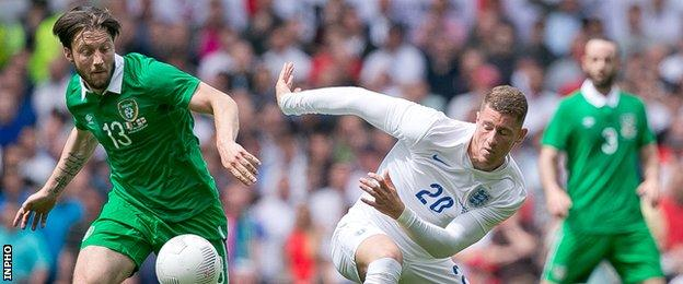 Harry Arter battles with England's Ross Barkley last June