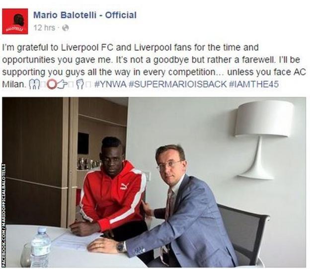 Mario Balotelli on facebook
