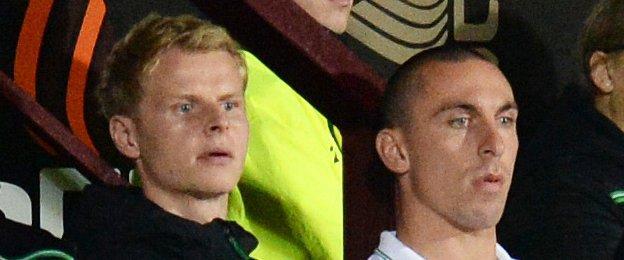 Celtic players Gary Mackay-Steven and Scott Brown