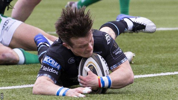 George Horne scores a try for Glasgow Warriors against Benetton