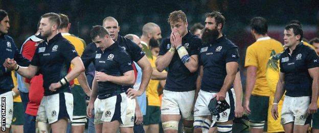 The pain is clear to see on the faces of the Scotland players