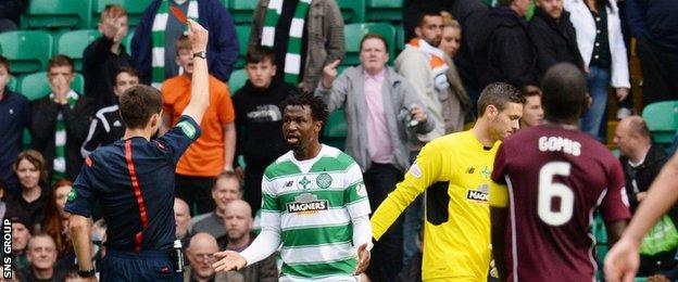 Efe Ambrose was sent off in the dying moments for 'a professional foul'