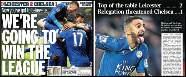 The Daily Mirror (left) and the Times were just two papers to lead on Leicester on Monday