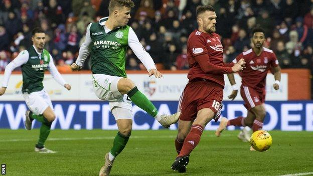 Hibs' Florian Kamberi fires wide at Pittodrie
