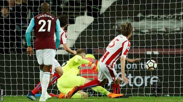 Peter Crouch scores Stoke's goal against West Ham on Monday