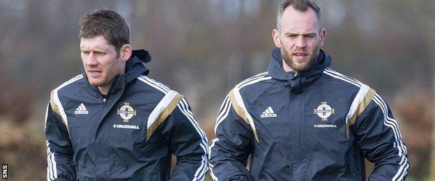 Michael McGovern and Alan Mannus at Northern Ireland training