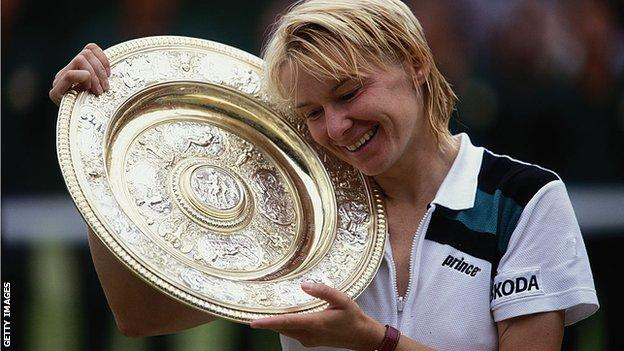 jana novotna with wimbledon trophy