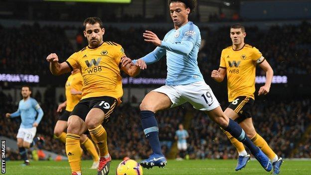 Wolves defender Jonny Castro Otto (left) in action against Manchester City