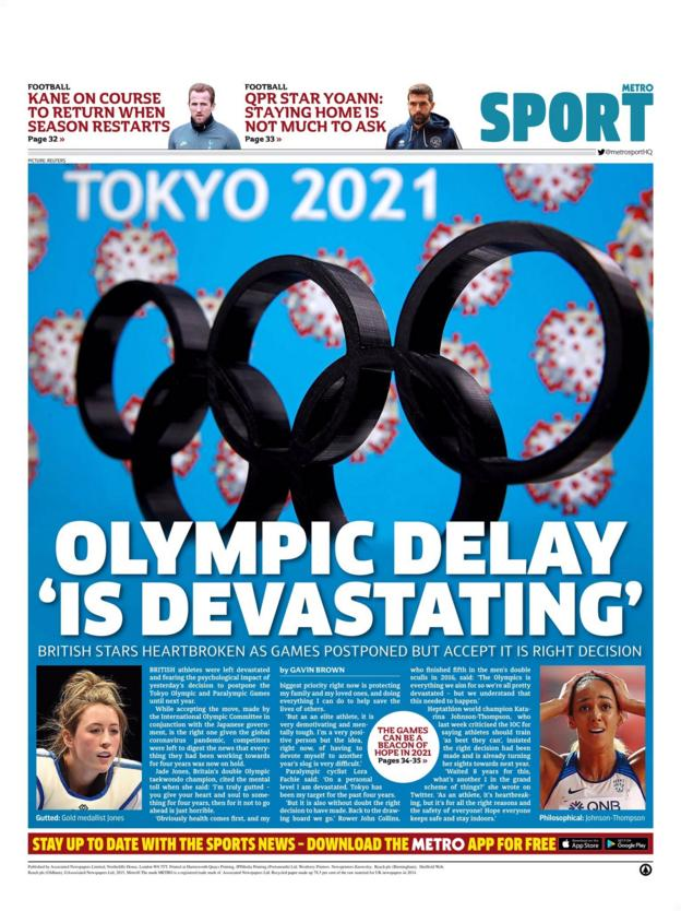 Metro back page for Wednesday, 25 March