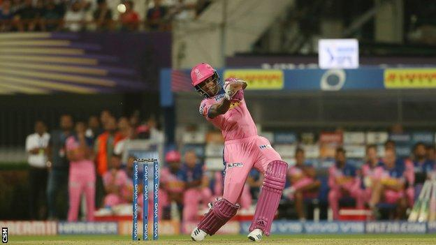 Jofra Archer hits a six to win an IPL match for Rajasthan Royals against Kolkata Knight Riders