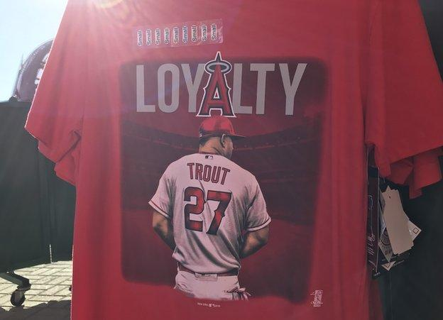 T-Shirt showing Mike Trout with 'Loyalty' written above