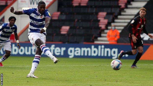 Lucas Joao scores a penalty for Reading against Bournemouth
