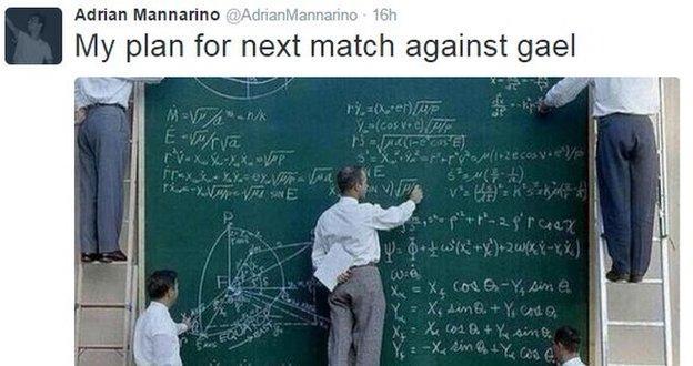 A Tweet from tennis player Adrian Mannarino
