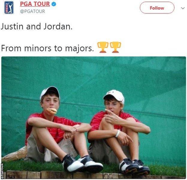 Jordan Spieth and Justin Thomas as children tweet