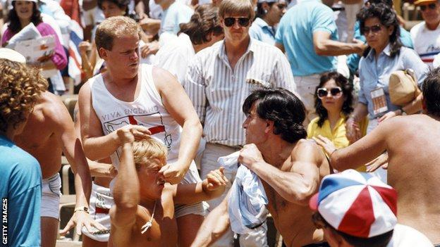 England and Argentina fans fight during the World Cup game in 1986