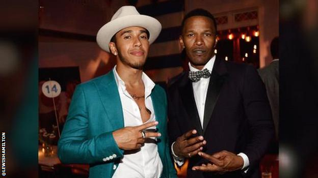 Lewis Hamilton with actor Jamie Foxx