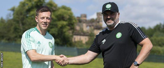 Callum McGregor (left) is taking over from Scott Brown as Celtic captain
