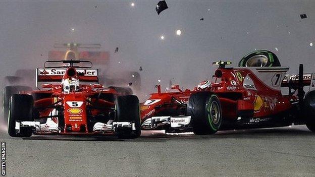 Ferrari's Sebastian Vettel and Kimi Raikkonen