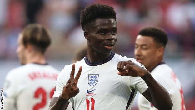 Bukayo Saka celebrates scoring for England against Andorra