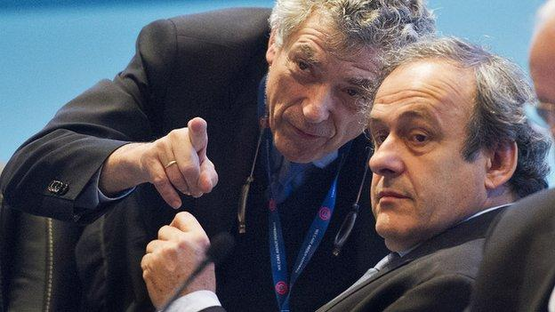 Angel Villar Llona and banned Uefa president Michel Platini