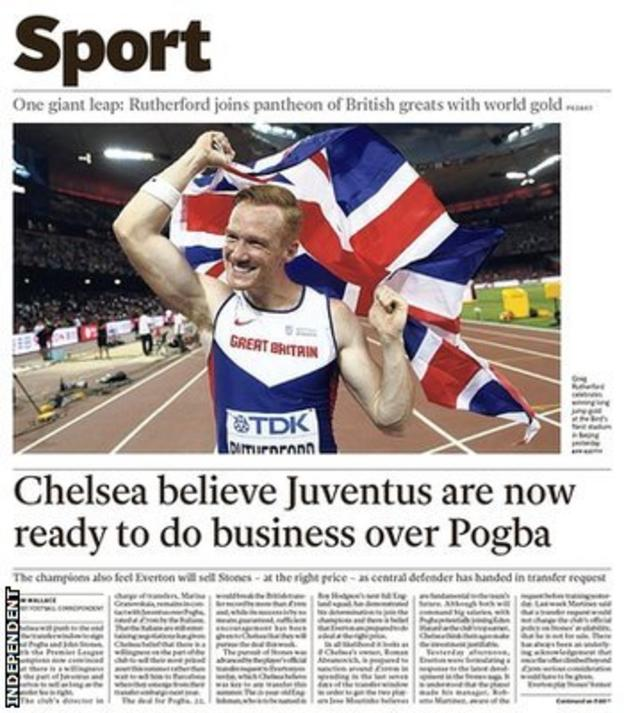 The Independent's back page reports on Chelsea's swoop for Paul Pogba and John Stones