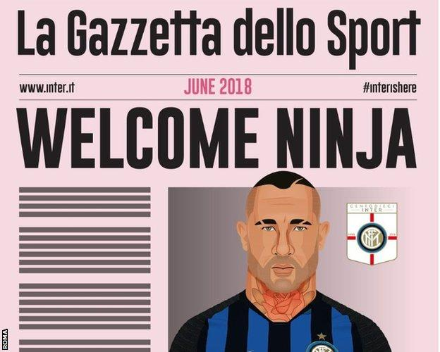 Roma announced Radja Nainggolan's signing with a mocked up version of Italian newspaper La Gazzetta dello Sport