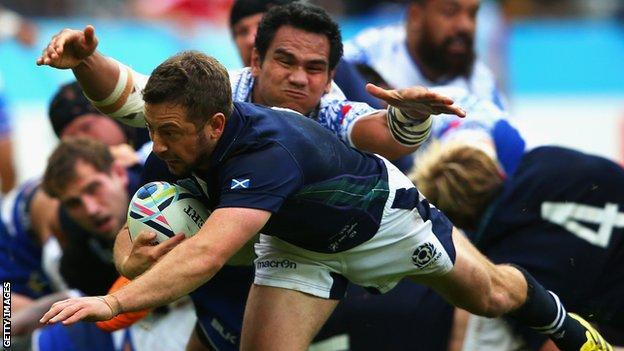 Greig Laidlaw scores a try for Scotland against Samoa