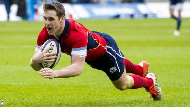 Mark Bennett scores against Italy in the Six Nations Championship