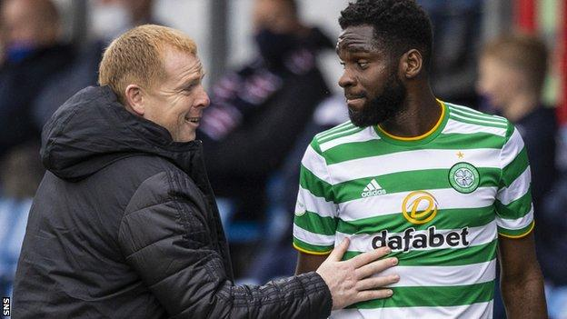 The Celtic striker, back after a two-game absence, scored the first, linked play well, and could have had a second had he not unselfishly squared for Klimala