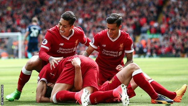 Liverpool celebrate a goal against Middlesbrough