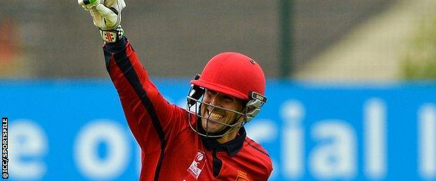 Jersey captain Pete Gough celebrates hitting the winning runs