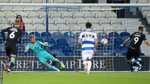Swansea striker Borja sends Joe Lumley the wrong way to score from the penalty spot